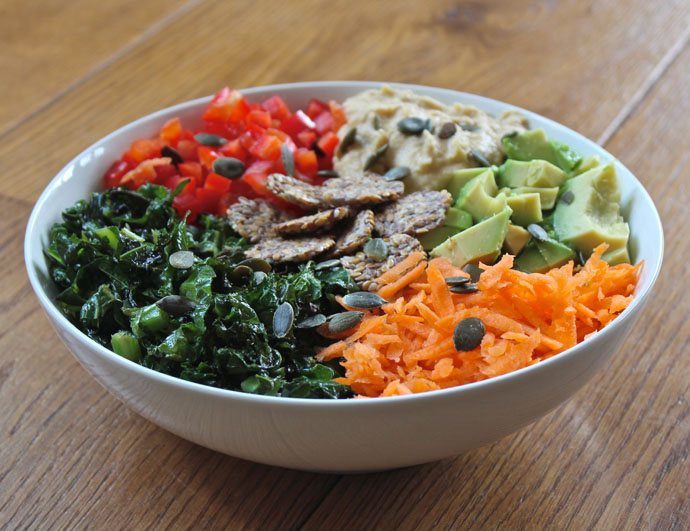 Rainbow salad with hummus dressing - Image from Deliciously ella